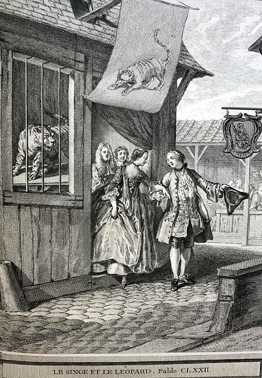 gravure oudry fables jean de la fontaine -marche du livre ancien